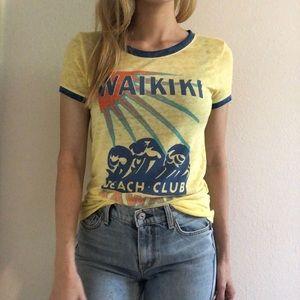 Lucky brand Yellow graphic tee retro style Waikiki